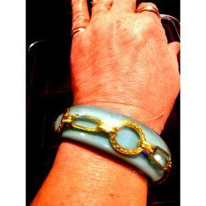 RARE Celluloid Decorative Blue Bracelet